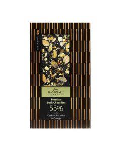 Brasilialaista tummaa suklaata 55%. Cashew, pistaasi ja appelsiini.