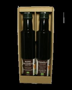 Oliiviöljy + balsamico lahjapakkauksessa